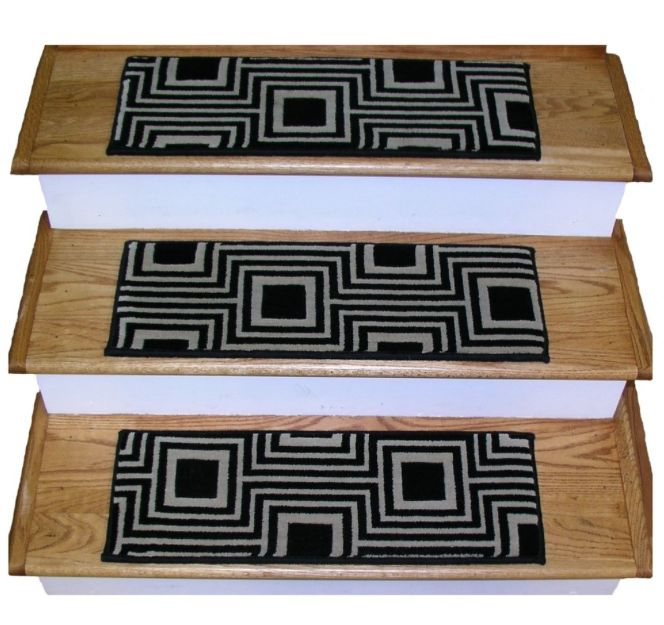 100% wool black and white stair treads; 16 treads for $296