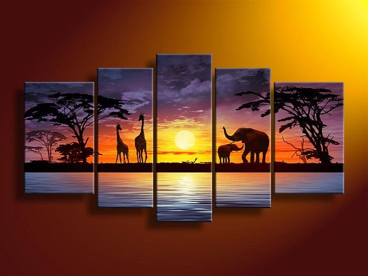 Hand Painted Wall Art African Elephants Deer Home Decoration Modern  Landscape Oil Painting On Canvas 5pcs