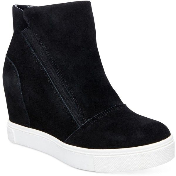 Steve Madden Women's Lazaruss Wedge Sneakers ($89) ❤ liked on Polyvore featuring shoes, sneakers, black suede, black suede sneakers, wedge trainers, hidden wedge sneakers, steve-madden shoes and suede shoes