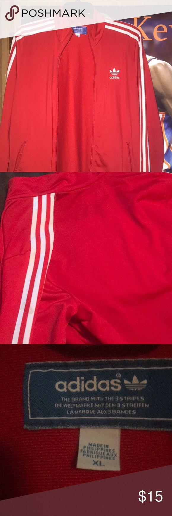 Red Adidas 3 Stripped Jacket Worn only twice, looks good as new! It's a X-Large in big kids, but fits like a medium in women's or small in men's. Adidas Jackets & Coats