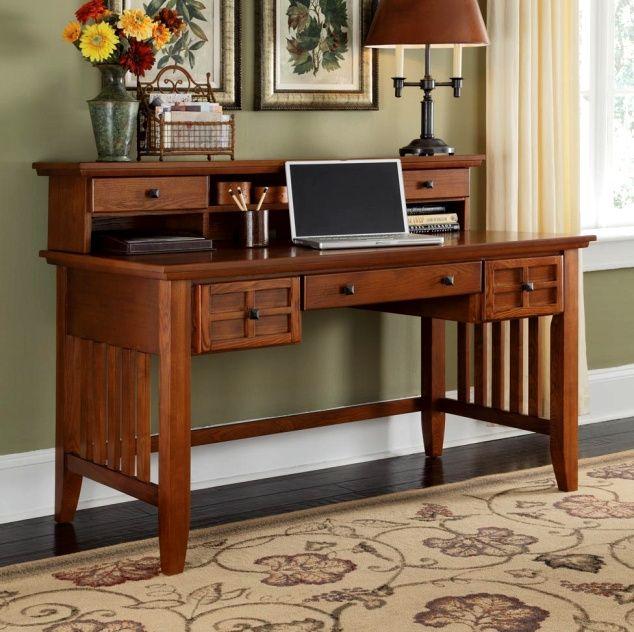 Mission Craftsman Executive Oak Computer Desk w/Hutch