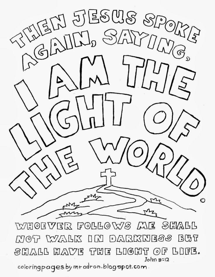 Free printable John 8:12 coloring page.