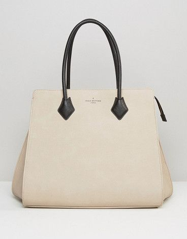 Coco structured tote in nude by Pauls Boutique. Cart by Paul's Boutique, Faux-leather outer, Lightly-textured finish, Contrast lining, Contrasting twin handles, Zip ...