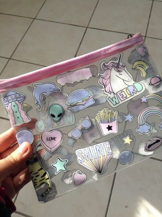 bag grunge pink alien girl pencil case unicorn kawaii grunge kawaii pastel pastel pink pale hair accessory see through plastic quote on it style handbag tumblr transparent pencil case makeup bag