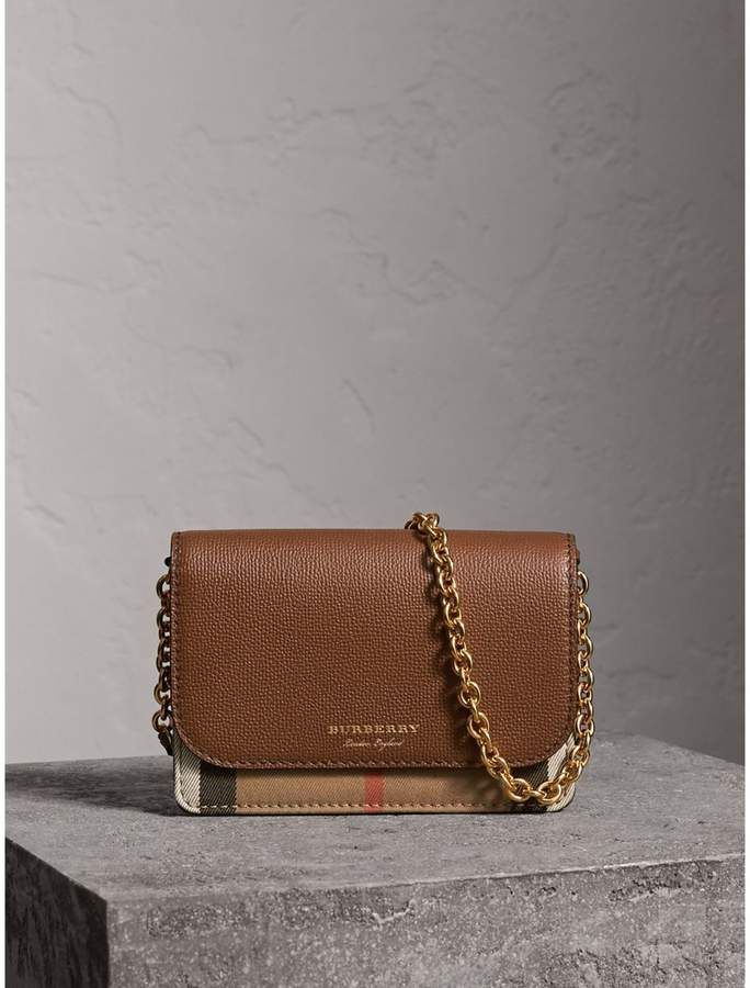 94ca800c22ae Burberry Leather and House Check Wallet with Detachable Strap   handbagsandwallets