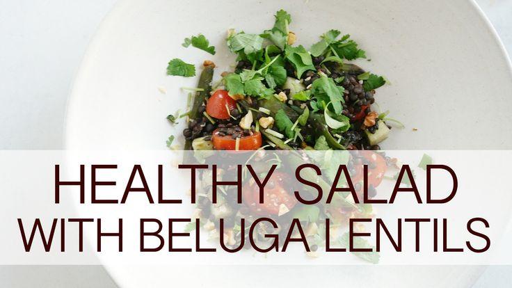 Healthy salad with beluga lentils
