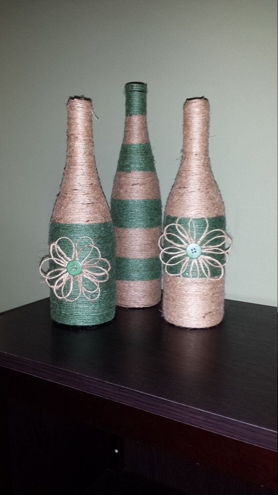 A trio of hand wrapped wine bottles in by ItsaWrapDesigns on Etsy
