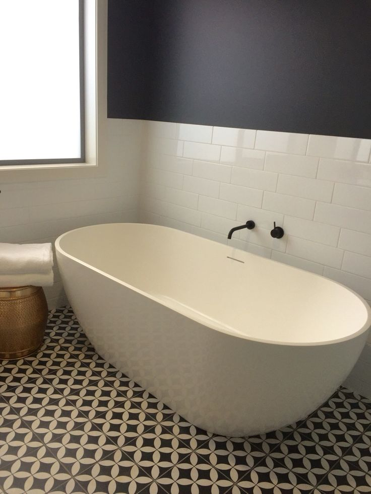 Black and white bathroom, Dulux Domino walls, freestanding bath By Verity Rhodes Interiors