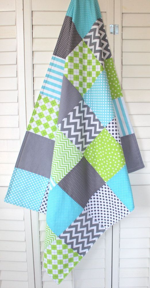 Gender Neutral Blanket, Nursery Decor, Minky Blanket, Crib Blanket, Chevron Nursery, Aqua Blue, Lime Green, Gray, Grey Chevron
