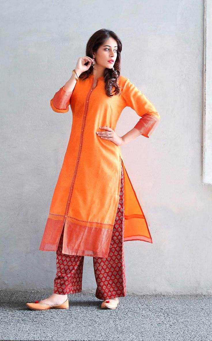 #festive #colour #vibrant #orange #deepred #striking #silk #chanderi #kurta…