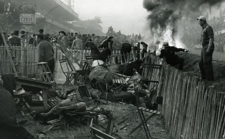 The aftermath of the 1955 Le Mans disaster in which 83 spectators were killed and 120 injured