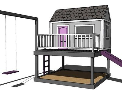 FREE DIY plans for CHILDREN'S PLAYHOUSE are at ana-white.com. Try to pick up materials free from Craigslist or www.freecycle.org etc!    Easy to build & very sturdy, yet inexpensive & well planned.
