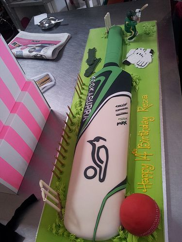 Cricket Bat and Ball cake covered in fondant, decorated with 3D cricketer figurine, fondant wicket & gloves | Flickr - Photo Sharing!