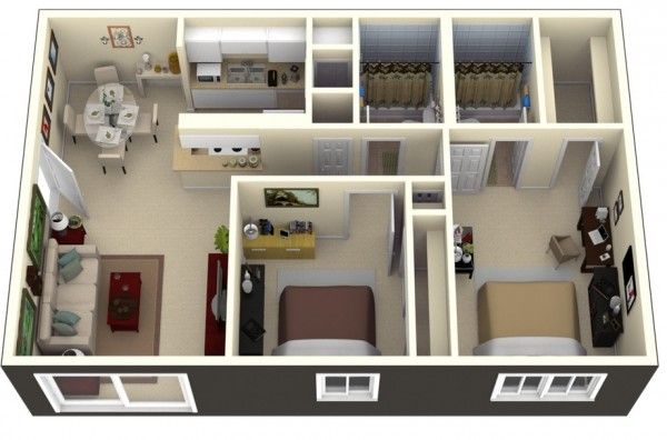2 bedroom apartment house plans 2d 3d floor plan guide for Apartment database design
