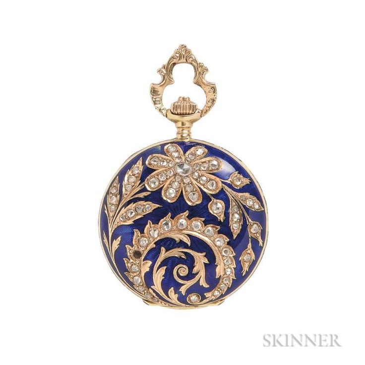Antique 18kt Gold, Enamel, and Diamond Hunting Case Pendant Watch, Longines, the enamel case with floral and foliate motifs, - Price Estimate: $600 - $800