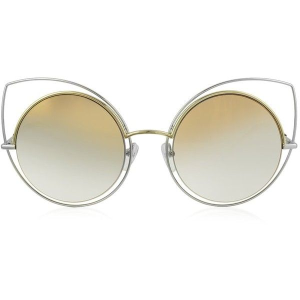 Marc Jacobs Sunglasses MARC 10/S TWMFQ Gold & Silver Metal Cat Eye... ($275) ❤ liked on Polyvore featuring accessories, eyewear, sunglasses, gold lens sunglasses, tortoise shell sunglasses, gold rimmed glasses, tortoise sunglasses and round cateye sunglasses
