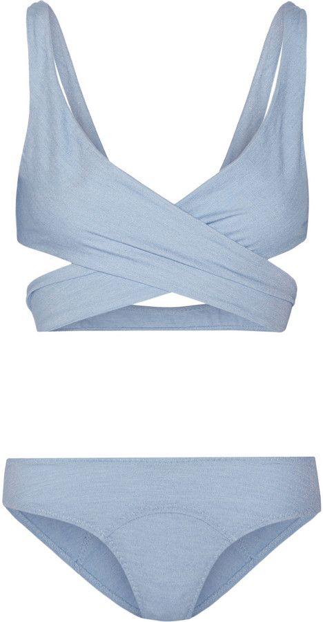 Marie-Louise stretch-denim wrap bikini, Lisa Marie Fernandez, Lisa Marie Fernandez's 'Marie-Louise' bikini is crafted from flexible stretch-denim. The flattering wrap top gently lifts and supports while the low-rise briefs visually elongate your frame. Wear it with a fedora and gold jewelry Size: 1.
