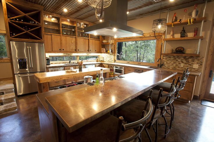 The Rustic Contemporary Kitchen Is Mixed With Earthly