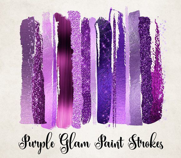 Brush Strokes Clipart Magic Stars Pattern Art Watercolor Stripes Purple and Gold Strokes Glitter Texture Paint Brush Strokes for Logo