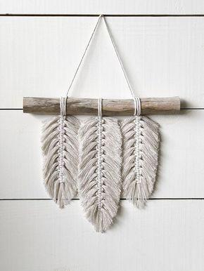 Macramé petite Tenture murale – plumes – macramé plumes – macramé Home Decor – Home Decor – Boho Decor – Boho Art – Boho plumes – en macramé