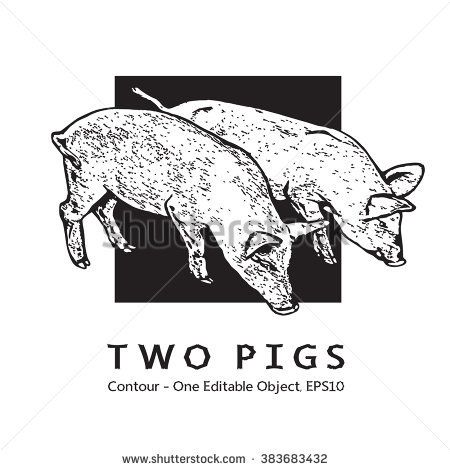 Two Young Pigs. Black And White Vector Image.