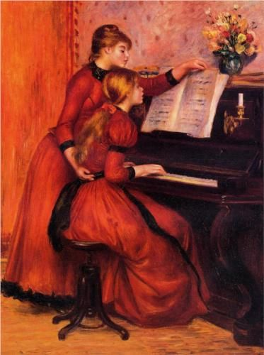 The Piano Lesson - Pierre-Auguste Renoir    A beautiful Renoir. I like the tones of the reds in this painting. The subjects of his paintings appear so life-like yet remain ethereal.  <3