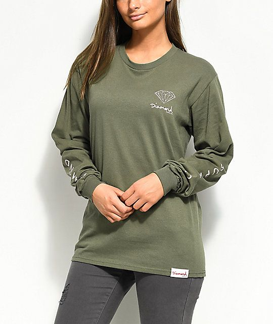 Diamond Supply Co. Mini OG Sign Hunter Green Long Sleeve T-Shirt