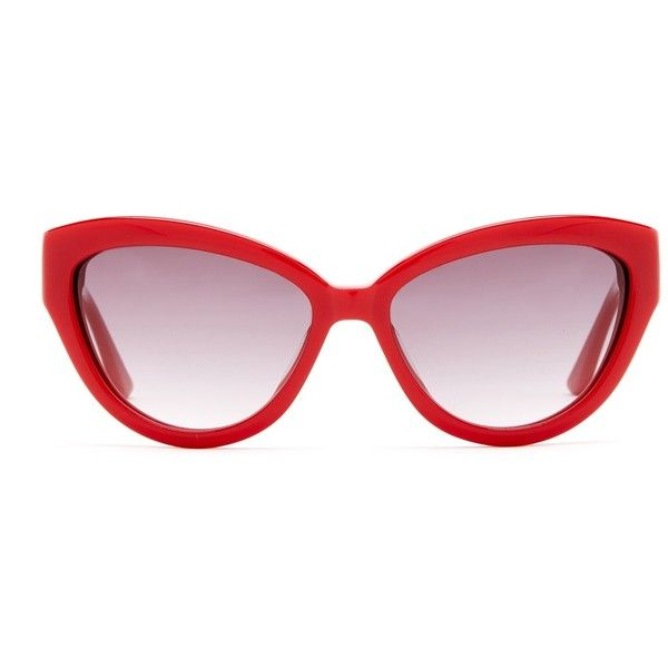 MOSCHINO Women's Cateye Sunglasses found on Polyvore featuring accessories, eyewear, sunglasses, glasses, red, acetate glasses, gradient sunglasses, red lens sunglasses, gradient glasses and moschino sunglasses