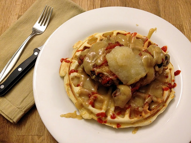 fried chicken and waffles with champagne gravy, sriracha, and apple ...