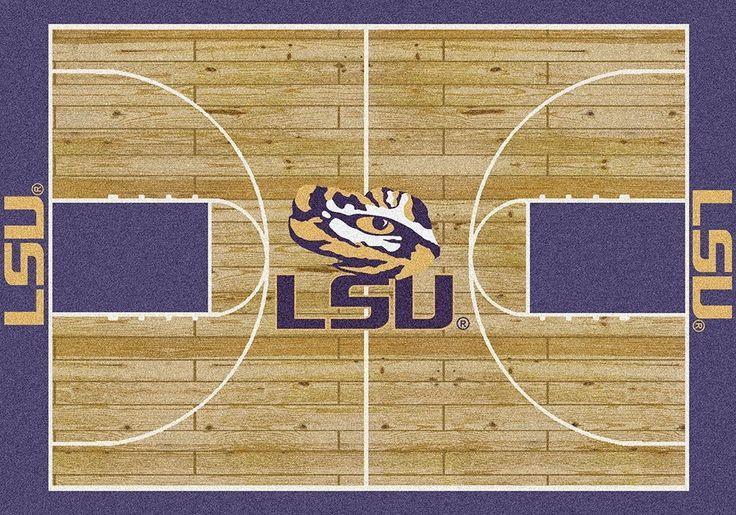 LSU University Basketball Court Rug Lsu, Basketball