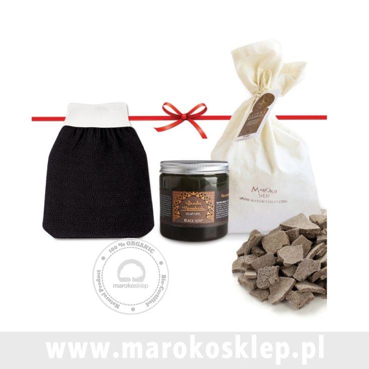 BEAUTE MARRAKECH -  Czarne Mydło + Rękawica Kessa + 1kg Glinki Rhassoul do zabiegu Hammam
