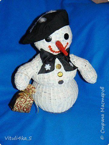 Игрушка Новый год Плетение Снеговичок Трубочки бумажные фото 1