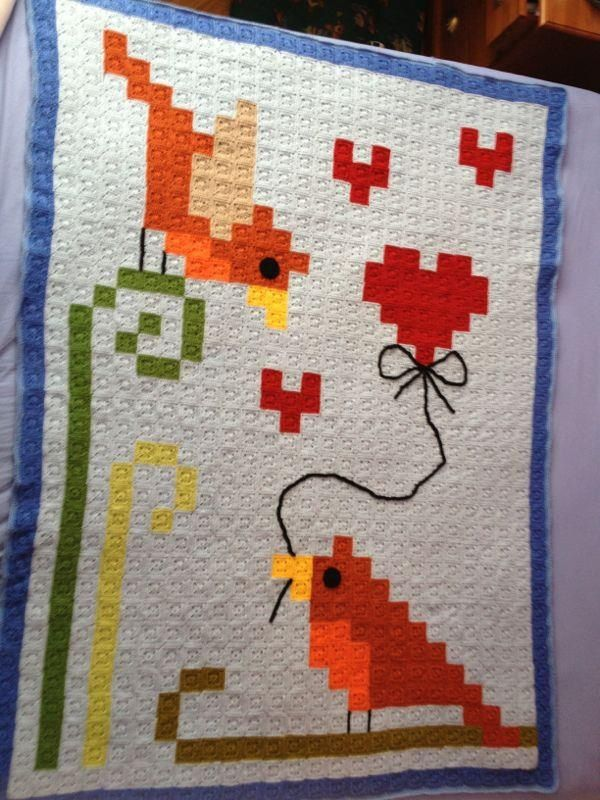Birds pixel granny square blanket      ♪ ♪ ... #inspiration_crochet #diy GB