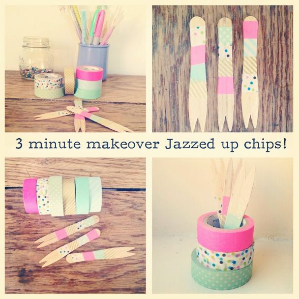 Washi tape chip forks washi tape pinterest chips for How do you use washi tape