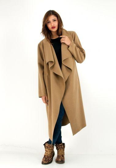 Μακρύ ασύμμετρο παλτό με πλάγιες τσέπες. | ΖΑΚΕΤΕΣ/ΜΠΟΛΕΡΟ :: ZicZac