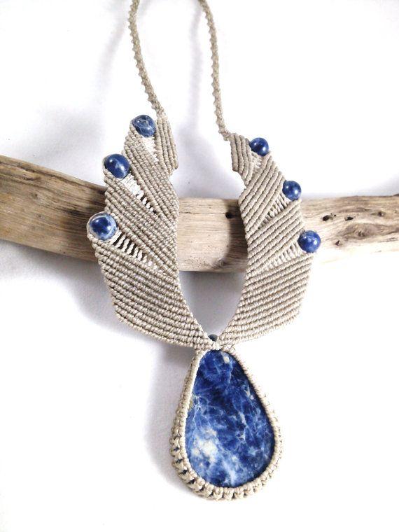 Sodalite Tribal Wing Macramé Necklace