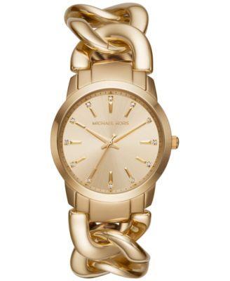 Michael Kors Women's Elena Gold-Tone Stainless Steel Chain Bracelet Watch 35mm MK3608 | macys.com