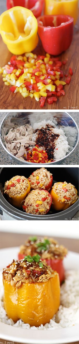 ---Asian-Style Slow Cooker Stuffed Bell Peppers--- Ingredients  4 large bell peppers  2 cups of cooked, shredded chicken  2 cups of cooked white rice  ¾ cup of teriyaki sauce, I used Soy Vay Veri Veri Teriyaki  Optional  Green Onions  Sesame Seeds