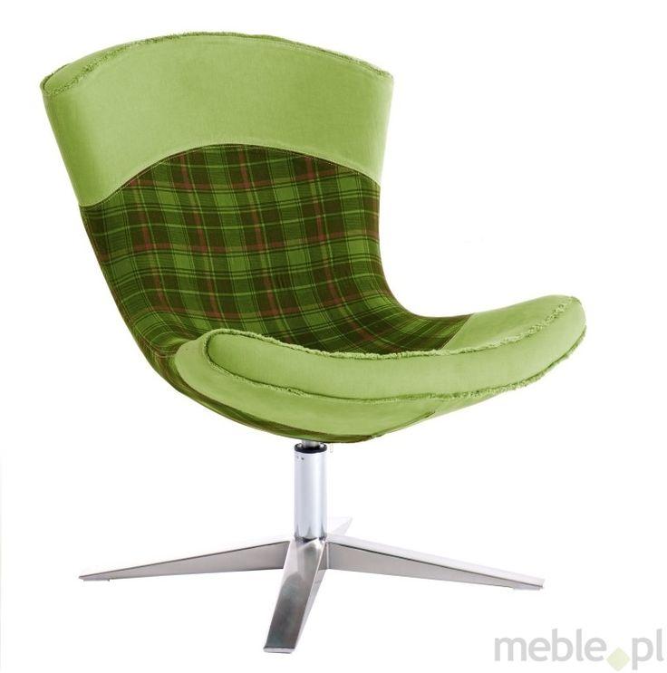 Odważny fotel Swing wykonany w zielonej kracie, Dkwadrat - Meble