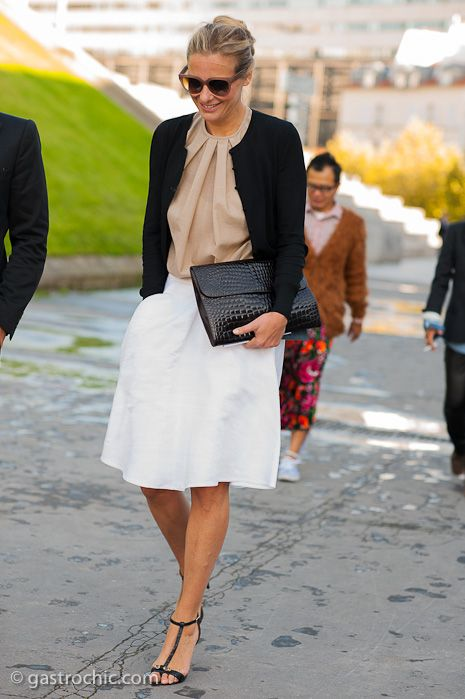 Lovely. Flared white skirt, camel silk shirt, and simple black cardigan, with elegant sandals. #work wear. #summer. via #thedailystyle