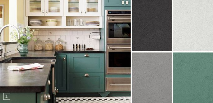 grey and blue kitchen color schemes | Palette Guide for Kitchen Color Schemes: Decor and Paint Ideas ...