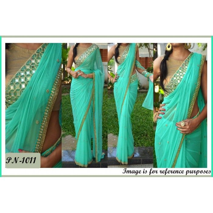 Net Saree With Real Mirror and Pearl Work Border With Diamond Work