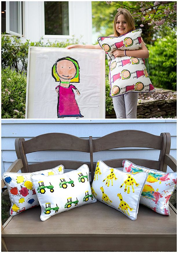 Turning Kids' Paintings Into Pillows and Throws