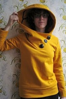 "Small Things: Mustard Hoodie: The ""Pattern."" Cool look with the gigantic hood and buttons."