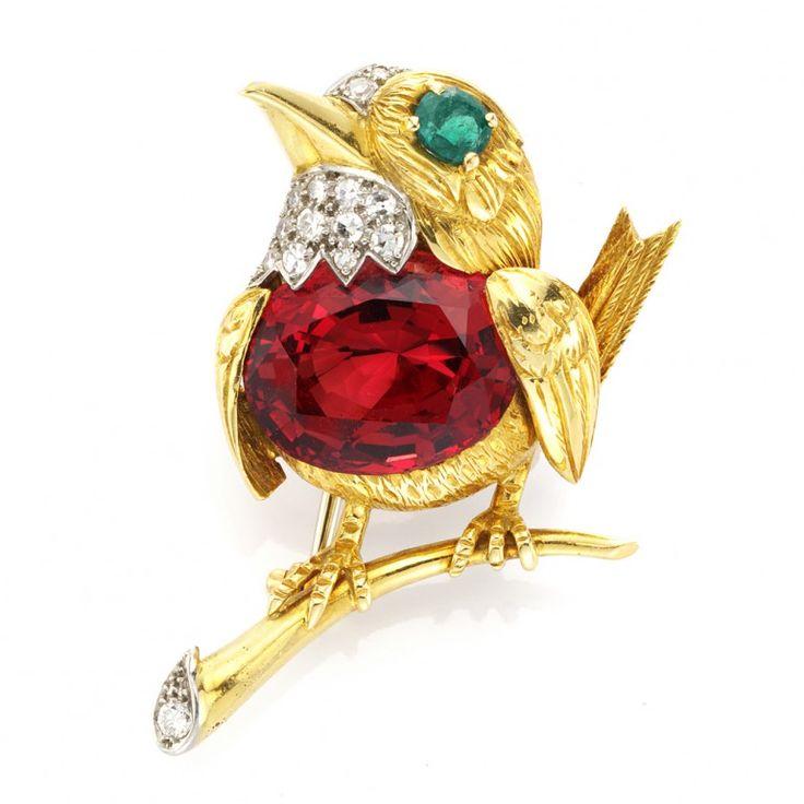 "Gold and gem-set ""Robin Redbreast"" brooch by Cartier, circa 1960."