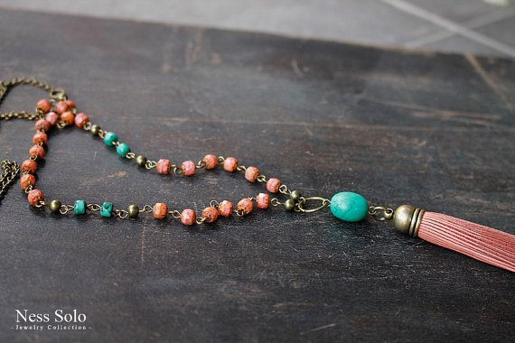 Coral and turquoise necklace Bohemian jewelry turquoise