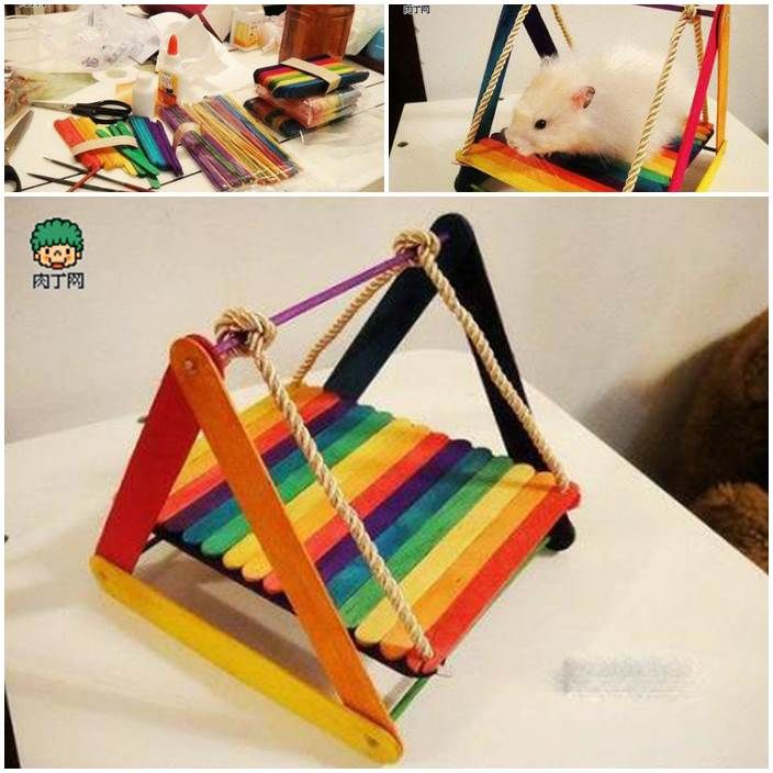 Diy hamster swing from popsicle sticks diy pets projects for How to make a diy hamster cage