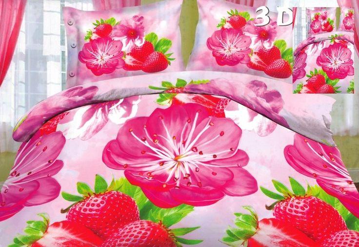 Różowa pościel do sypialni z truskawkami