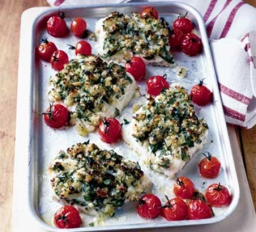Herb-crusted haddock. Add olive oil and garlic