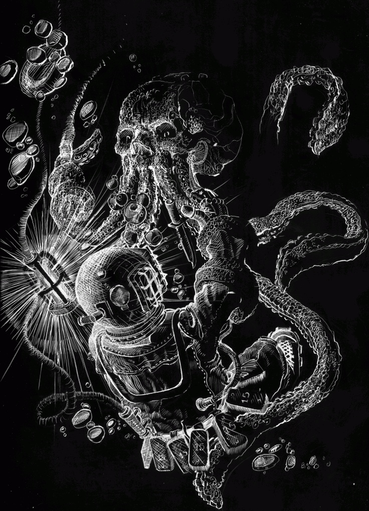 diver vs octopus tattoo design pinterest blog and octopus. Black Bedroom Furniture Sets. Home Design Ideas